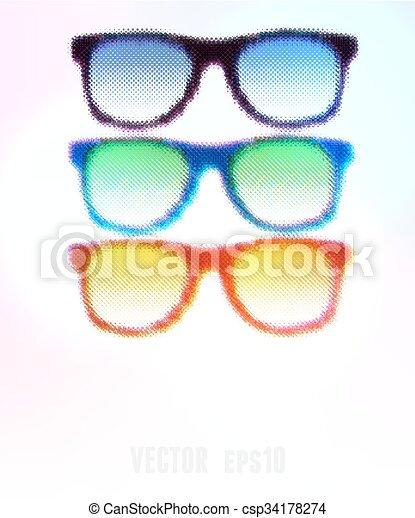 ilustração, editable., halftone, experiência., vetorial, óculos - csp34178274