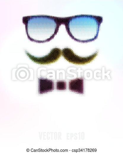 ilustração, editable., halftone, experiência., vetorial, óculos - csp34178269