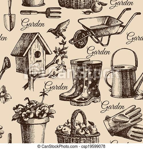 ilustração, jardinagem, seamless, esboço, pattern., mão, desenhado - csp19599078