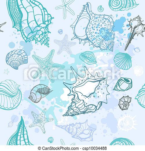ilustração, mão, experiência., vetorial, mar, desenhado - csp10034488