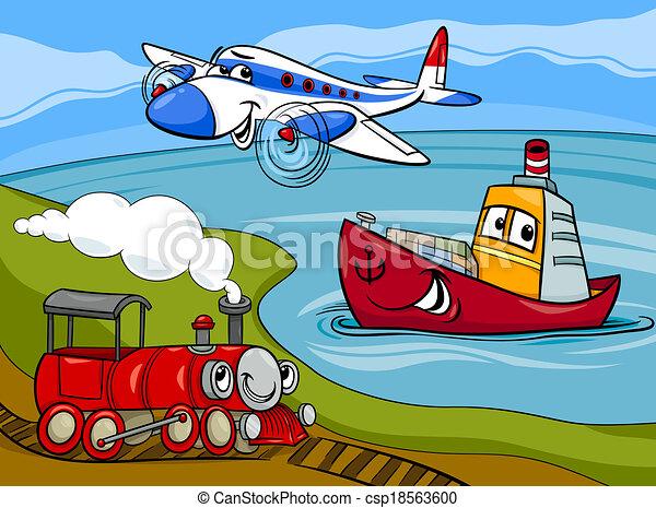 ilustração, navio, trem, caricatura, avião - csp18563600