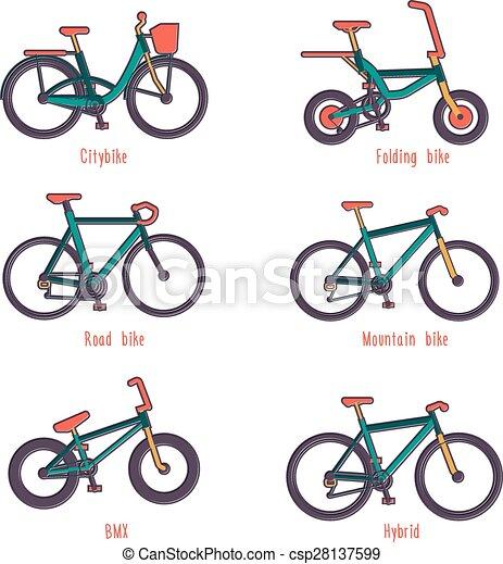 ilustrações, diferente, jogo, bicycles, tipos - csp28137599