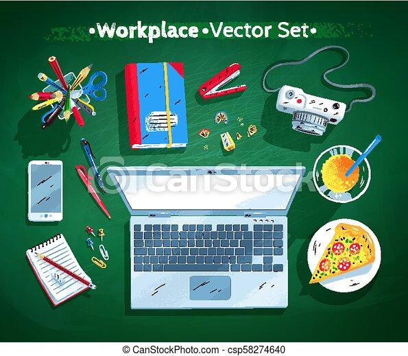 ilustrações, jogo, local trabalho, escritório - csp58274640