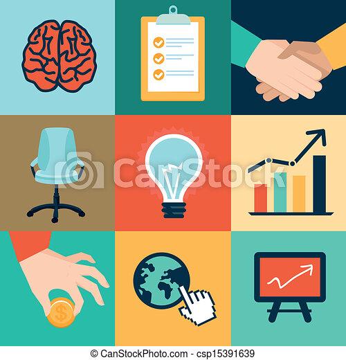 ilustrações, vetorial, escritório, ícones negócio - csp15391639