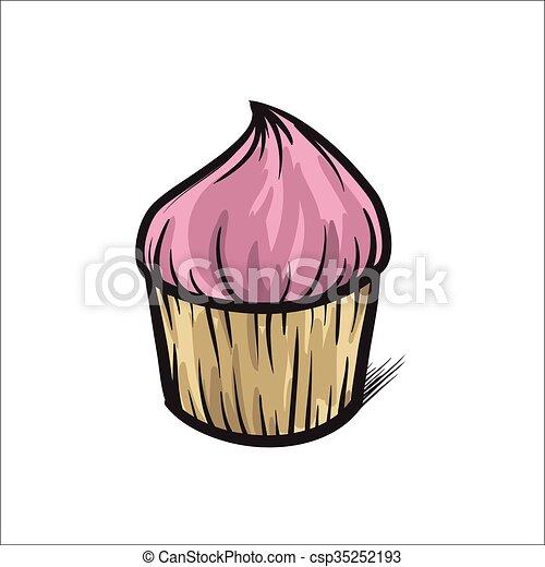Ilustrace Cupcake Vektor Nahy Rukopis Barvity Ilustrace