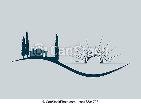 ilustrace, stylizovaný, vektor, moře, domů, dovolená - csp17834797