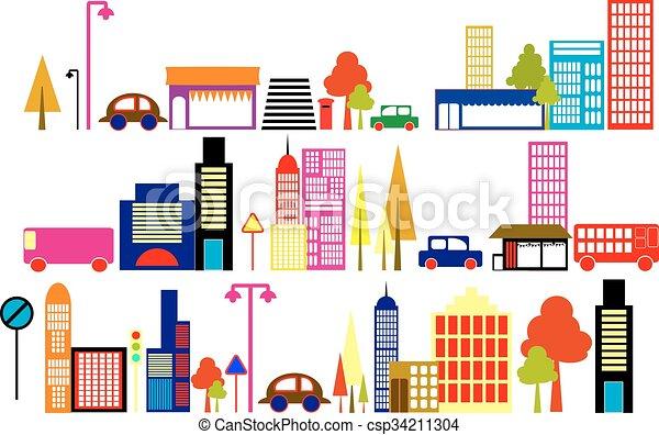 Ilustración de vectores de una ciudad - csp34211304