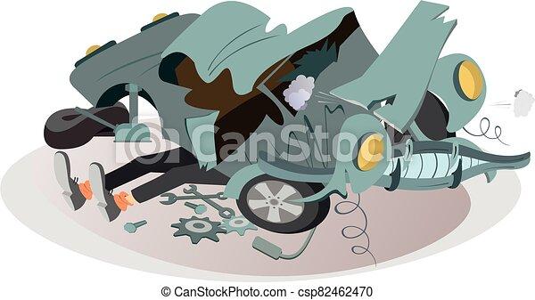 ilustración, coche, reparaciones, mecánico - csp82462470