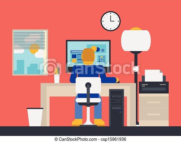 La ilustración de un gerente trabajando en la oficina - csp15961936