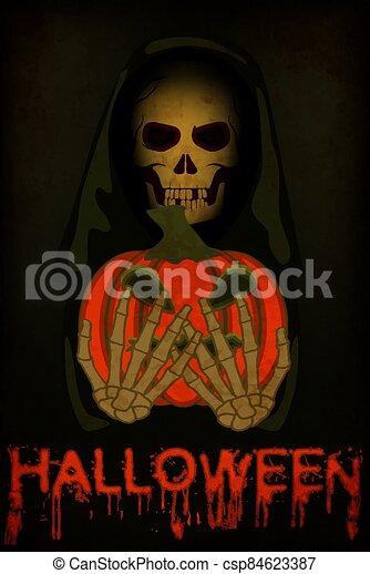 ilustración, feliz, pumpkin., halloween., vector, muerte - csp84623387
