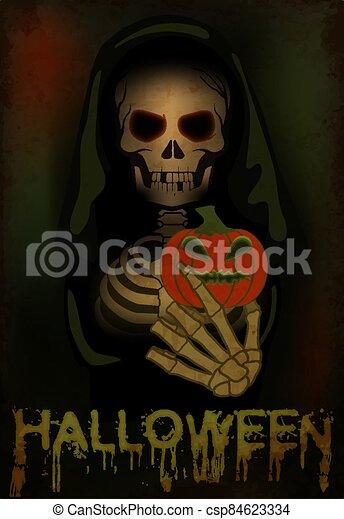 ilustración, feliz, pumpkin., halloween, card., tenencia, vector, muerte - csp84623334