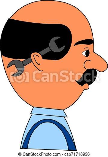Hombre con llave, ilustración, vector de fondo blanco. - csp71718936