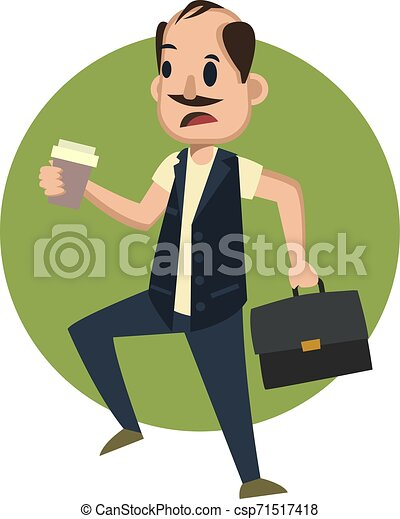 Hombre con maleta, ilustración, vector de fondo blanco. - csp71517418