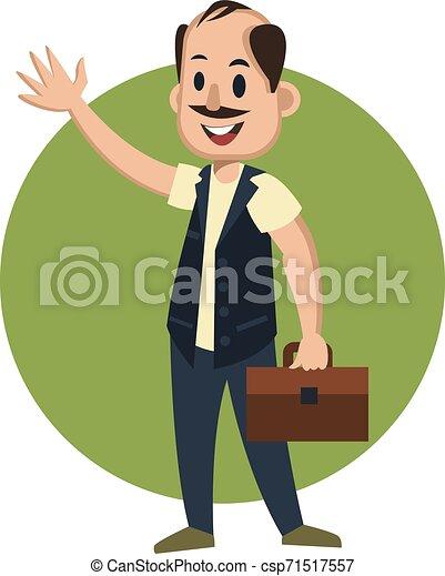 Hombre con maleta, ilustración, vector de fondo blanco. - csp71517557