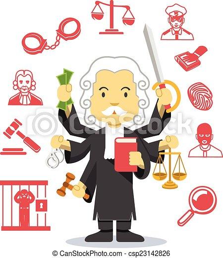Icono de ilustración plana del juez vector - csp23142826