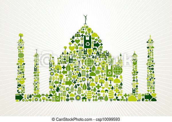 La India ve la ilustración del concepto verde - csp10099593