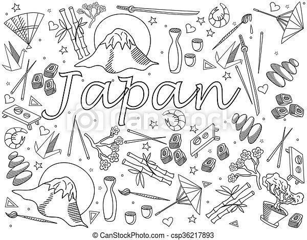 Ilustración, japón, vector, libro colorear. Colorido, arte ...