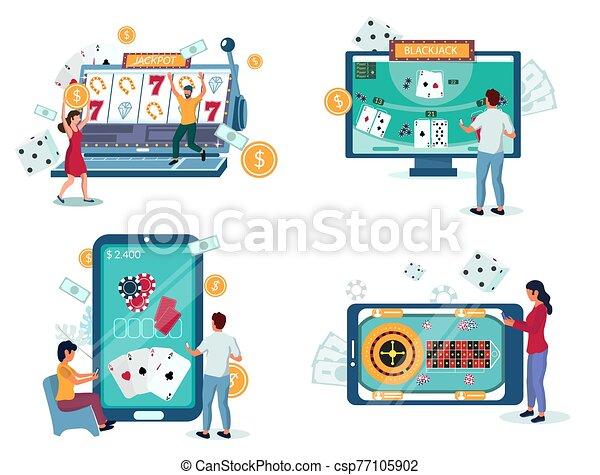 ilustración, juego, vector, en línea, casino, aislado, conjunto - csp77105902