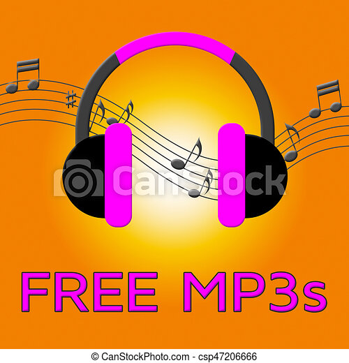 Los Mp3 Libres Denotan Descarga De Bandas De Sonido En 3d De Ilustración Los Auriculares De Mp3 Gratis Denotan Descarga De Canstock