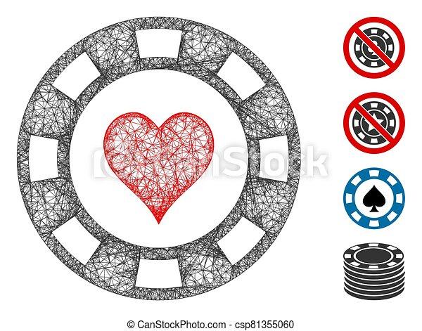 ilustración, malla, casino, tela, astilla, corazón, vector - csp81355060