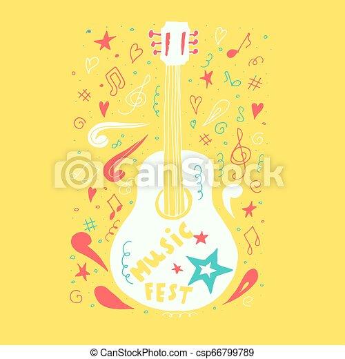 Guitarra acústica con estilo dibujado a mano. Ilustración de vectores para el diseño. - csp66799789