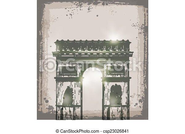 Arco de triunfo, Paris. Ilustración de vectores a mano - csp23026841