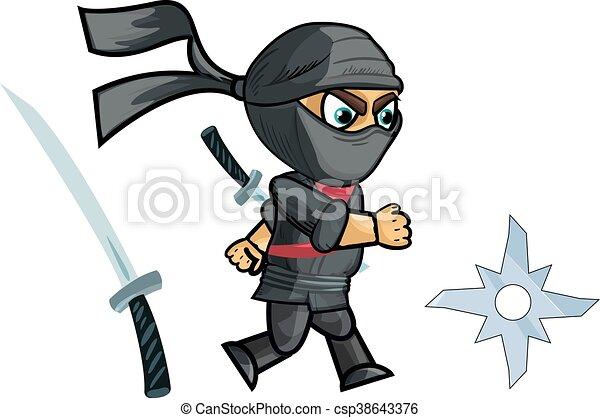 Jugando al sprite ninja, ilustración de vectores - csp38643376