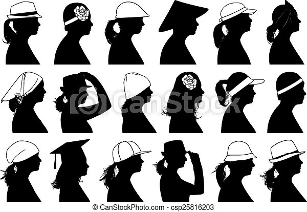 La ilustración de perfiles de mujeres - csp25816203
