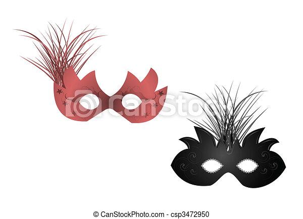 Ilustración realista de máscaras de carnaval - csp3472950