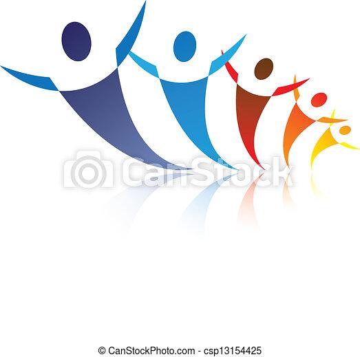 Ilustración de colores de personas juntas siendo positivas y felices, el gráfico representa símbolos /iconos de la gente como comunidad o amigos o redes sociales - csp13154425