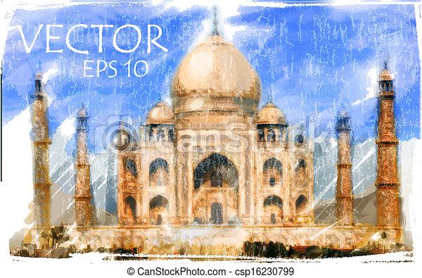 Ilustración del vector de taj mahal, india - csp16230799