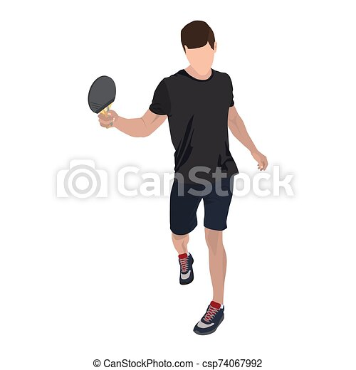 ilustración, tenis, tabla, vector, jugador, raqueta, aislado, plano - csp74067992
