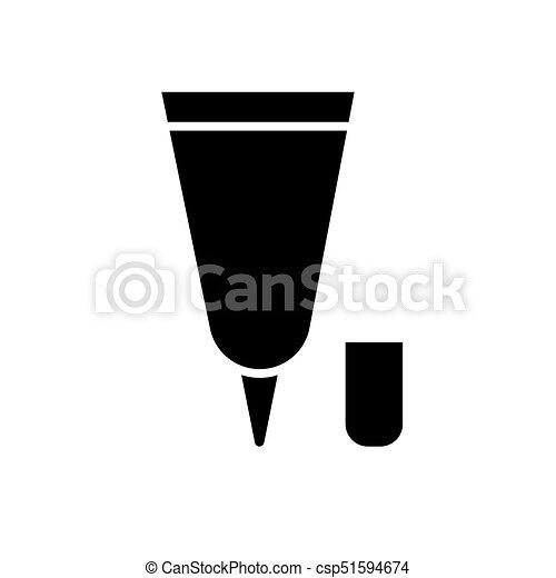 Tubo de crema pequeño icono, ilustración vectorial, signo negro en el fondo aislado - csp51594674