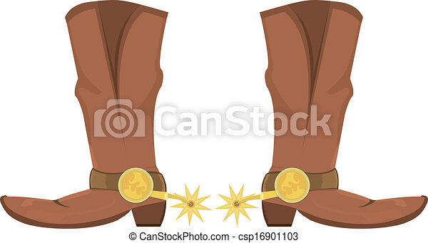 Ilustración vectora de botas de vaquero con esporas - csp16901103