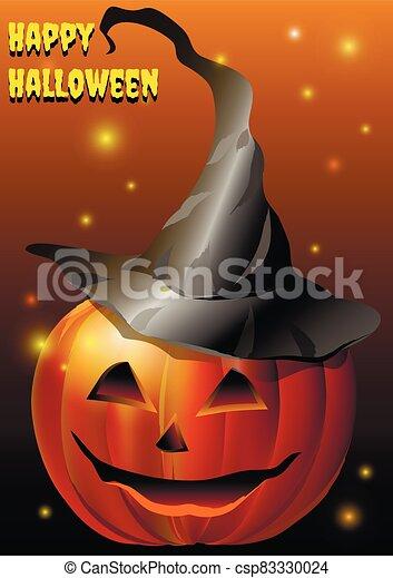 ilustración, vector, calabaza, muzzle., sombrero - csp83330024