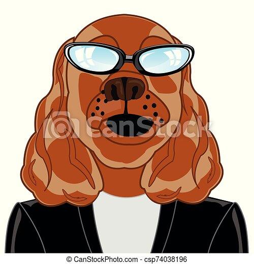 ilustración, vector, perro, caricatura, jarra, chamarra - csp74038196