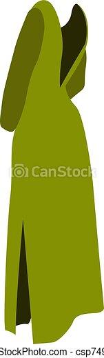 ilustración, verde blanco, vestido, vector, fondo. - csp74975485