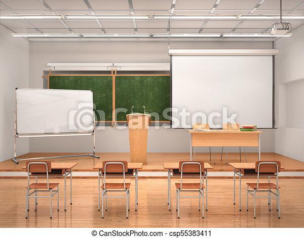 El interior de la sala de conferencias. Ilustración 3D - csp55383411