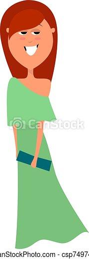 ilustración, vestido blanco, vector, fondo., tarde - csp74974169