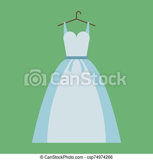 ilustración, vestido blanco, vector, fondo. - csp74974266