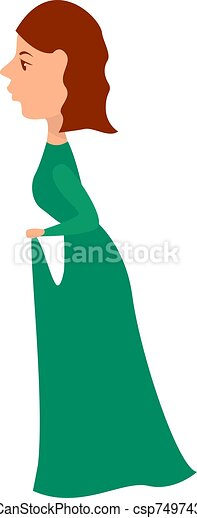 ilustración, vestido blanco, vector, fondo., largo - csp74974323