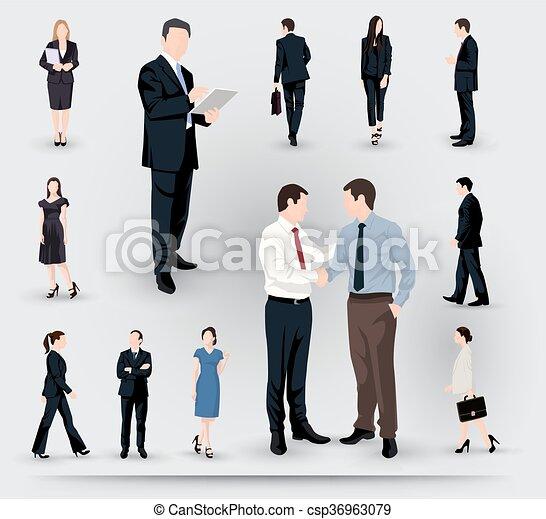 Colección de ilustraciones de gente de negocios - csp36963079