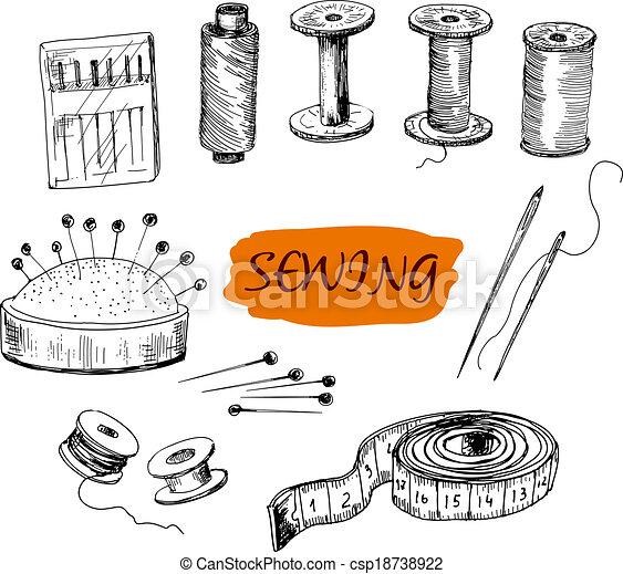 Cosiendo. Un conjunto de ilustraciones - csp18738922