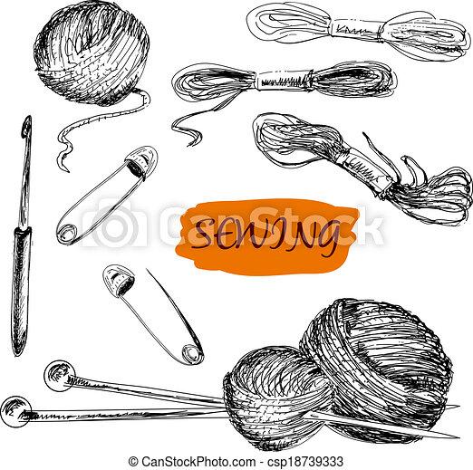 Cosiendo. Un conjunto de ilustraciones - csp18739333