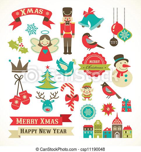Iconos retro de Navidad, elementos e ilustraciones - csp11190048