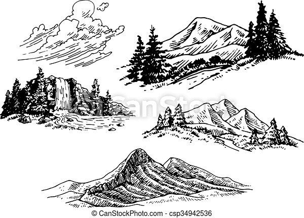 Ilustraciones montañosas dibujadas a mano - csp34942536