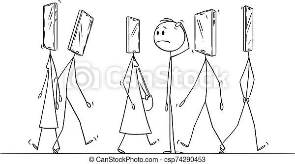 ilustracja, rysunek, ruchomy, głowa, człowiek, wektor, zwykły, ulica, pieszy, telefon, ludzie, zdumiony - csp74290453
