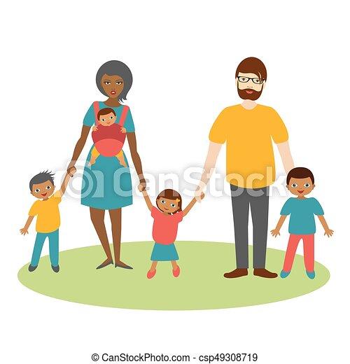 ilustration, משפחה, שלושה, מירוץ מעורבב, vector., children., ציור היתולי - csp49308719