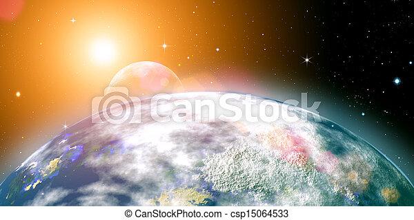 Sol creciente sobre el planeta Tierra, antecedentes abstractos. No se usan imágenes de la NASA - csp15064533