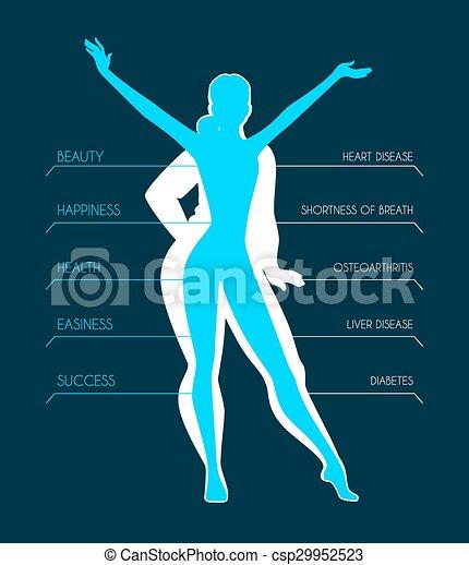 En forma, imágenes de silueta de mujer - csp29952523